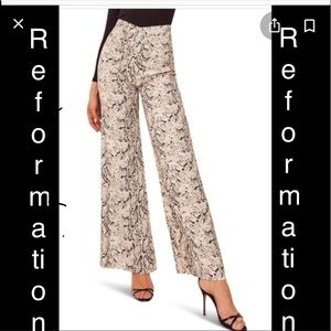 NWT Reformation Wide Leg High Rise Snakeskin Pants